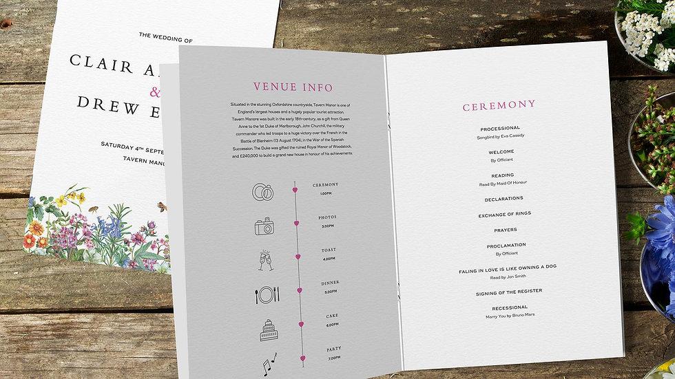 Spring Wedding Order Of Service Booklet