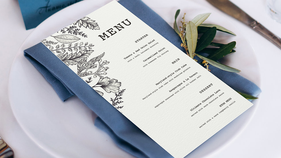 Outline Wedding Menus