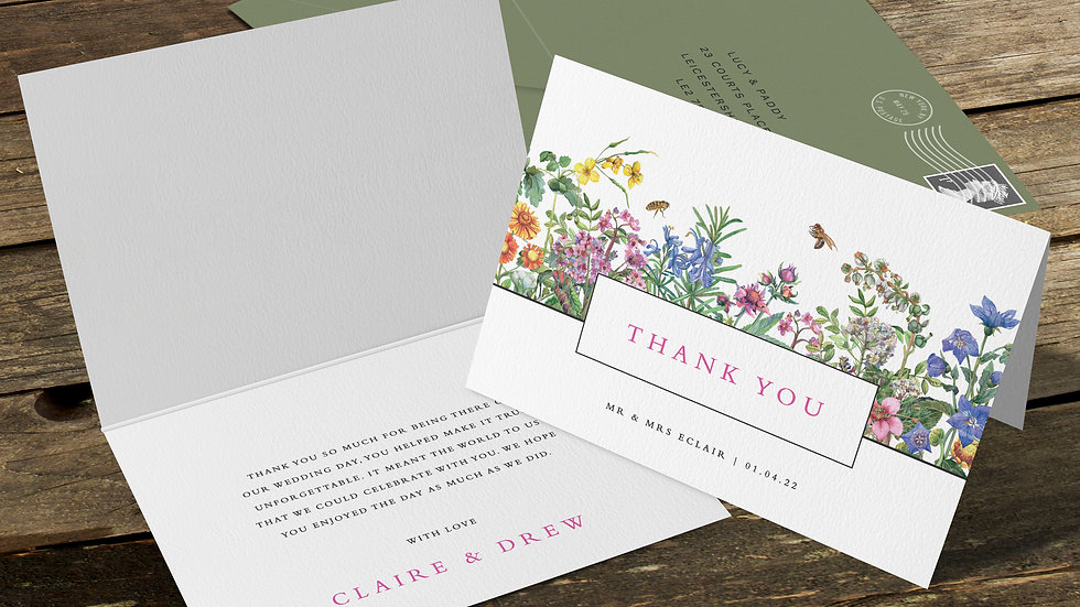 Spring Folded Thank You Cards With Envelopes