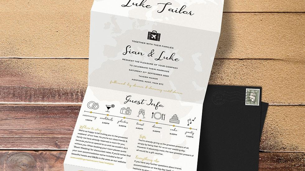 Destination Tri Fold Wedding Invitations With Envelopes