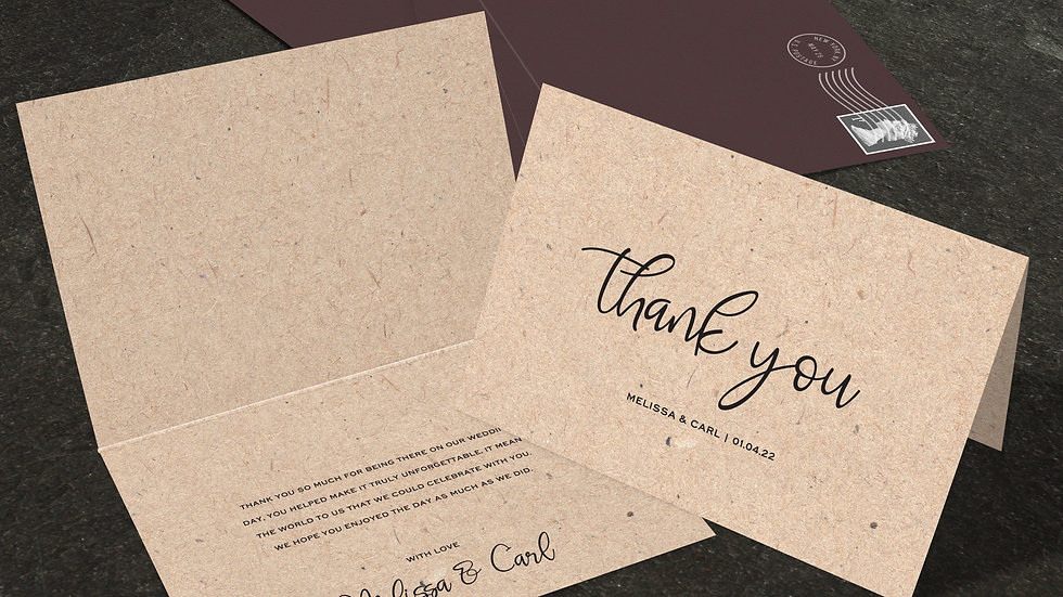 Kraft Folded Thank You Cards With Envelopes