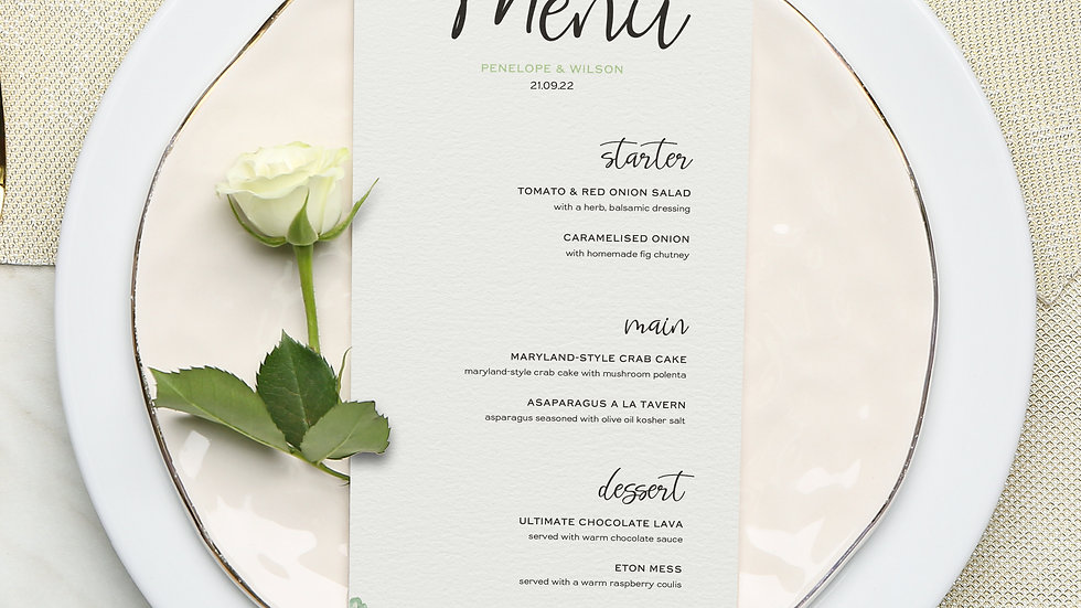 White Roses Wedding Menus