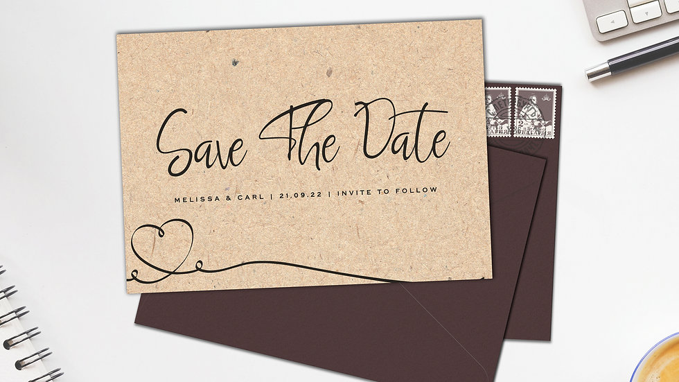 Kraft Save The Date Cards With Envelopes
