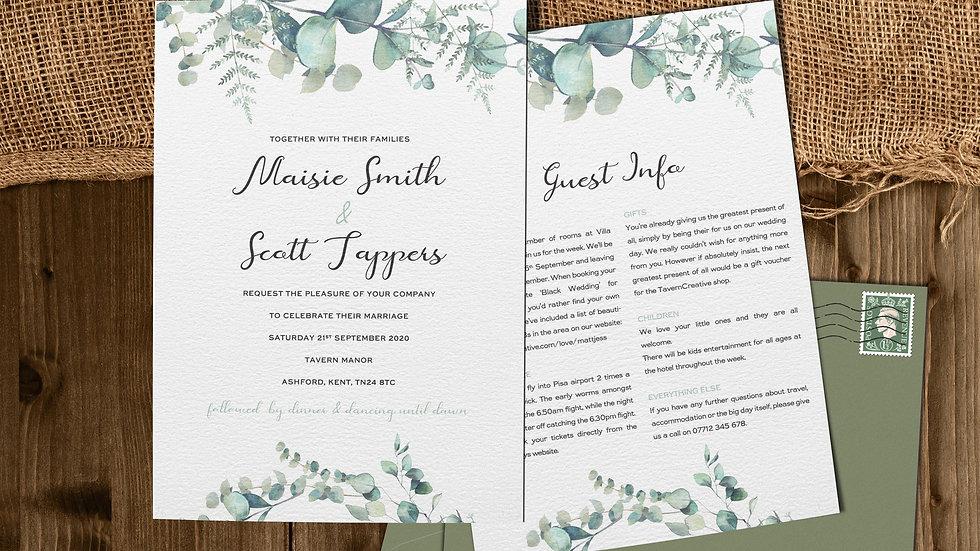 "Olive 7x5""Wedding Invitations With Envelopes"