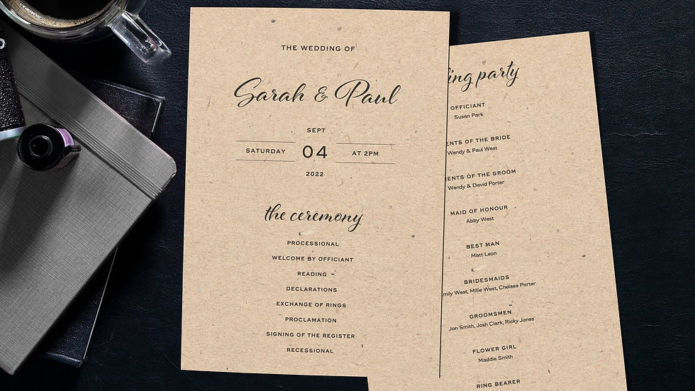 Kraft Lights Order Of Events Card