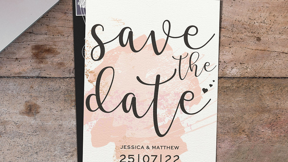 Pink Watercolour Save The Date Cards With Envelopes