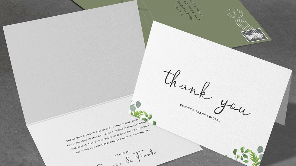 Greenery Eucalyptus Folded Thank You Cards With Envelopes