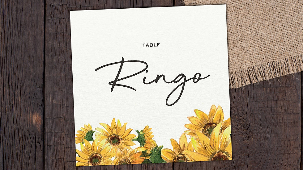 Sunflowers Table Name Cards