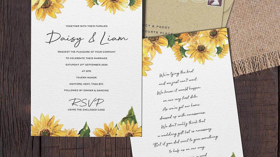 "Sunflowers 7x5""Wedding Invitations With Envelopes"