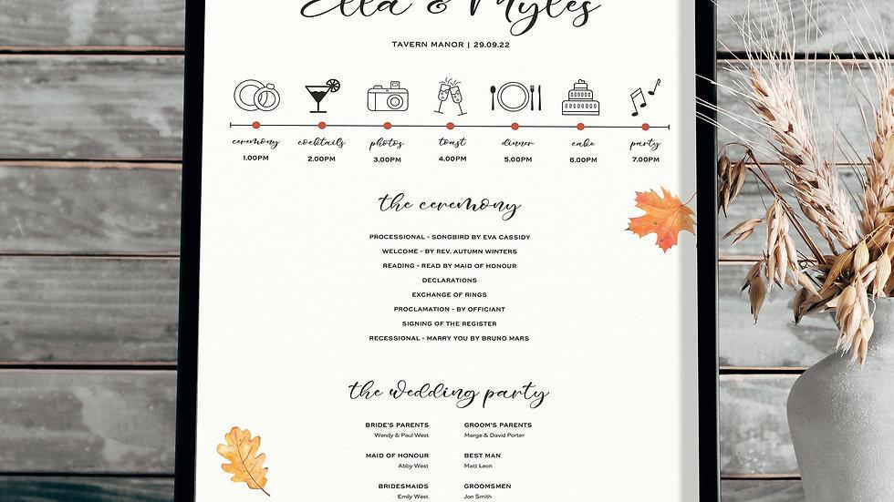 Autumn Wedding Program Sign