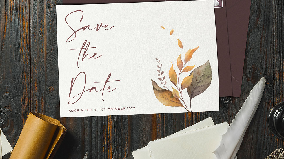 October Save The Date Cards With Envelopes