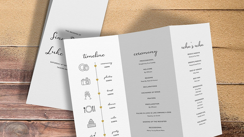 Destination Ceremony Programs