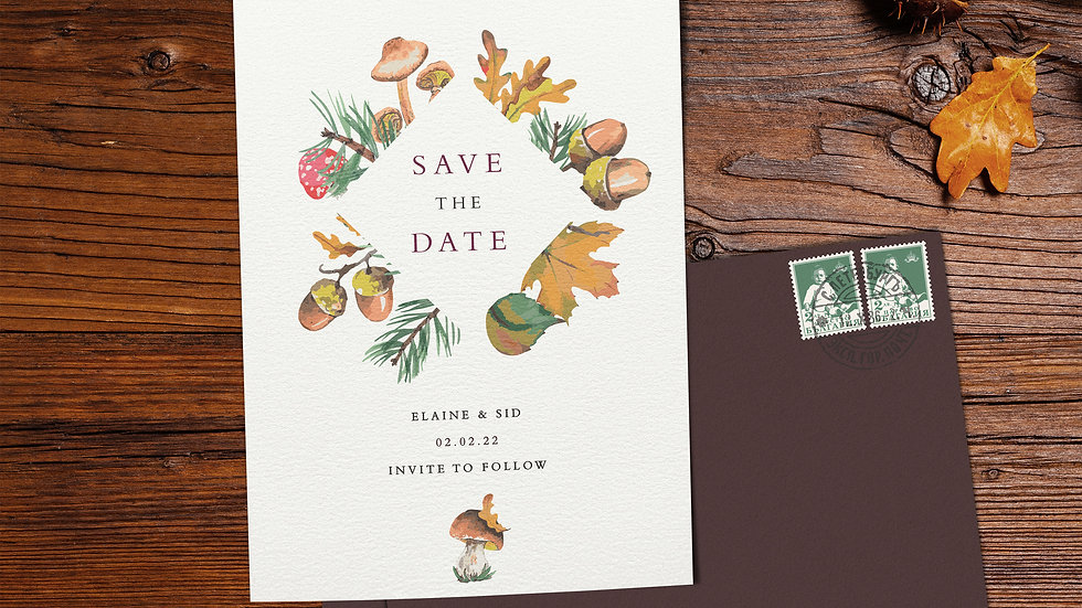 Woodland Save The Date Cards With Envelopes