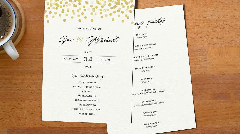 Confetti Order Of Events Cards