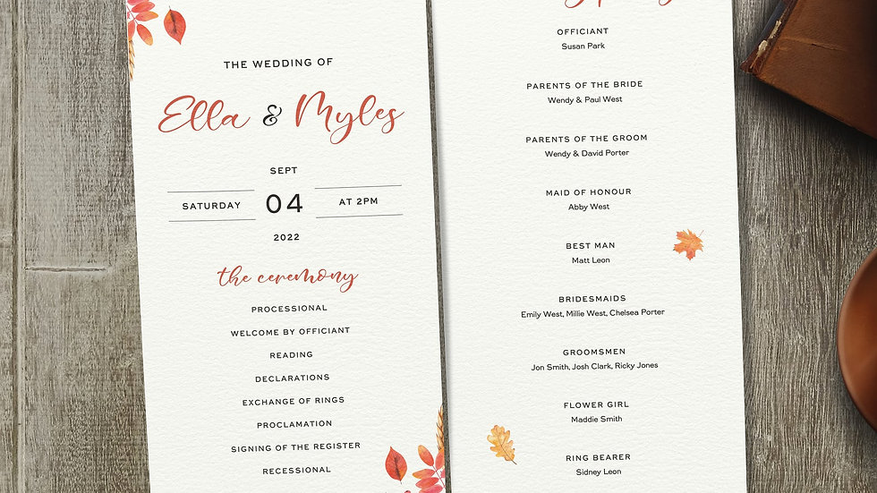 Autumn Order Of The Day Cards