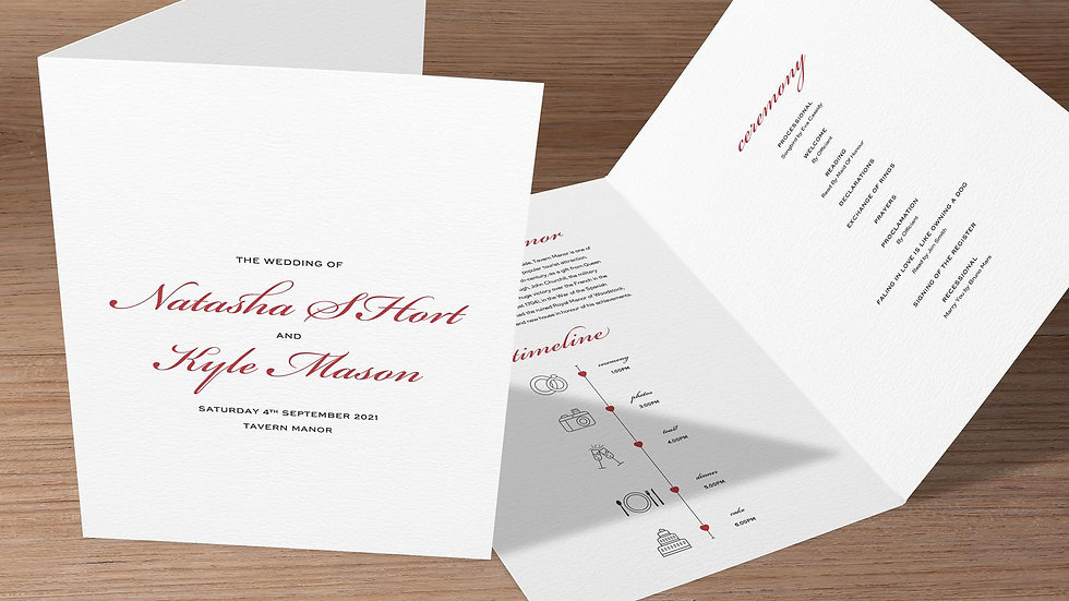 'One' Folded Wedding Programs