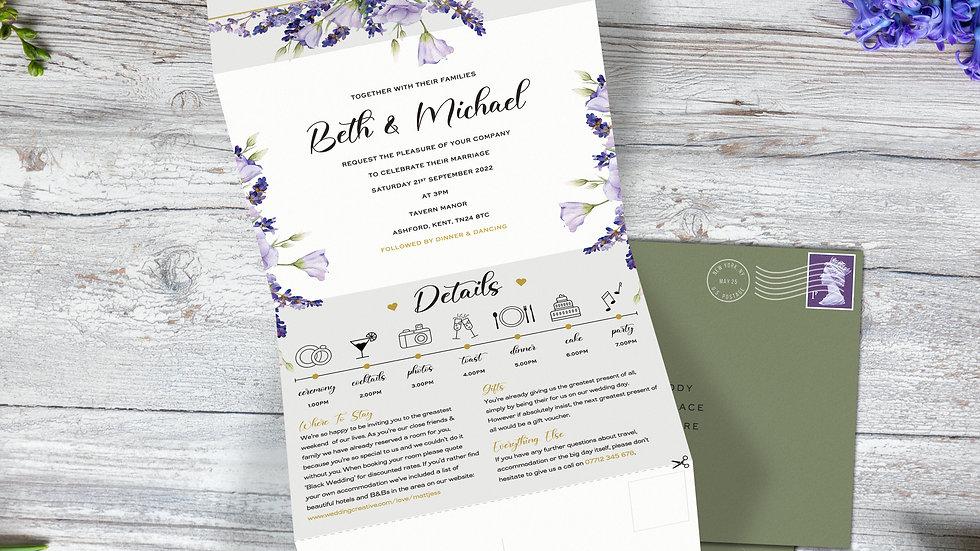 Lavender Tri Fold Wedding Invitations With Envelopes
