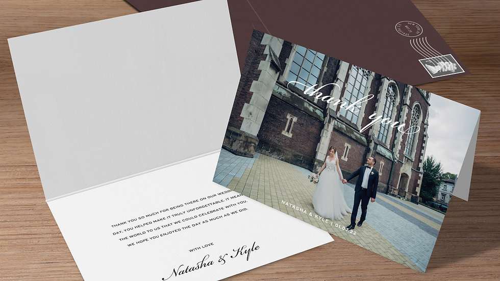 One Photo Folded Thank You Cards With Envelopes