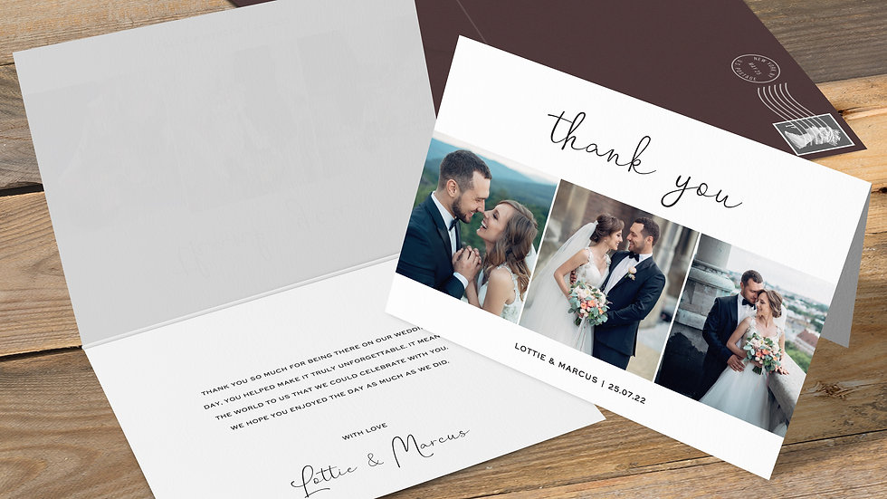 Photo Booth Folded Thank You Cards With Envelopes