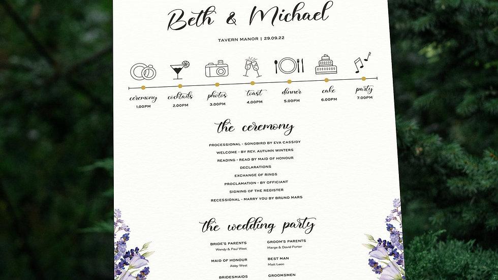 Lavender Wedding Program Sign
