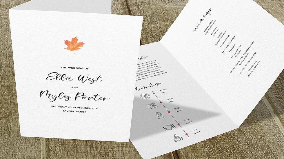 Autumn Folded Wedding Programs
