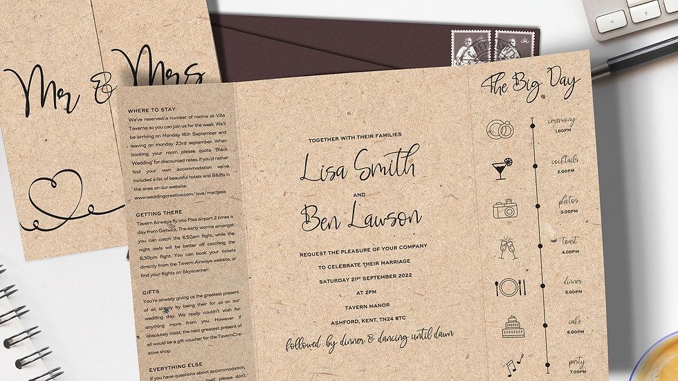 Kraft Gatefold Wedding Invitations With Envelopes