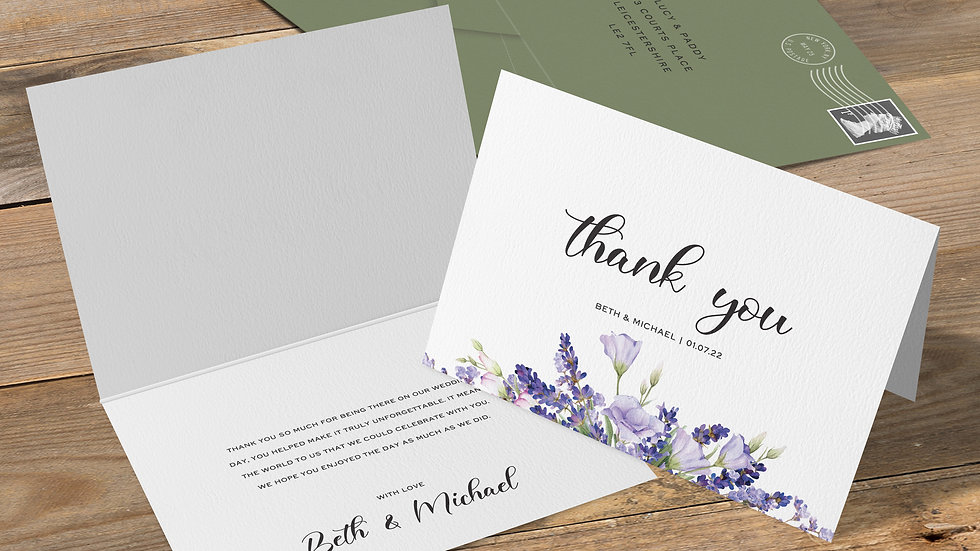 Lavender Folded Thank You Cards With Envelopes