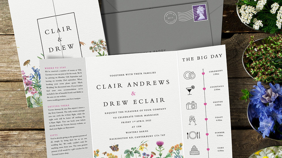 Spring Gatefold Wedding Invitations With Envelopes