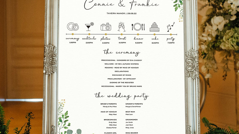 Greenery Eucalyptus Wedding Program Sign