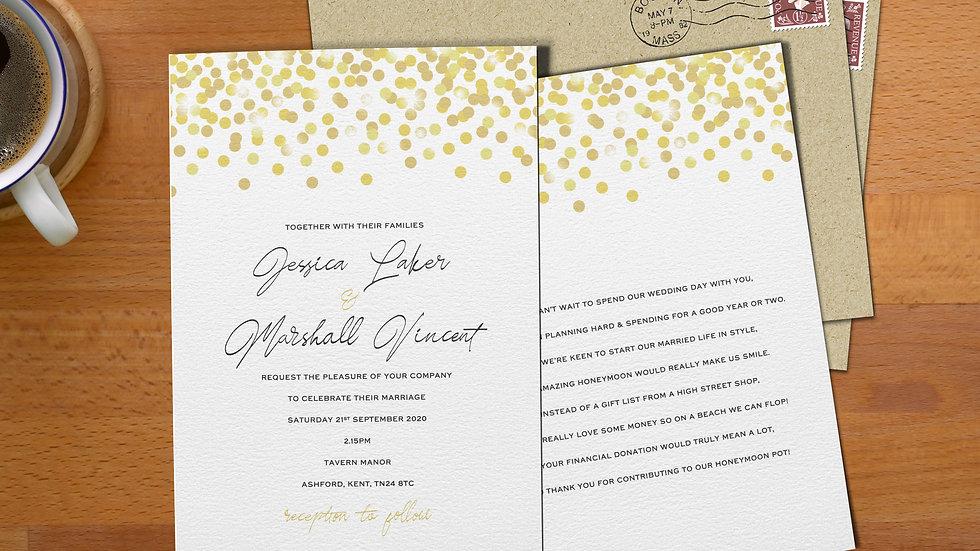 "Confetti 7x5""Wedding Invitations With Envelopes"
