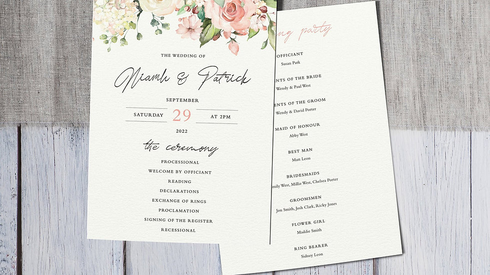 Blush Floral Order Of Events Cards
