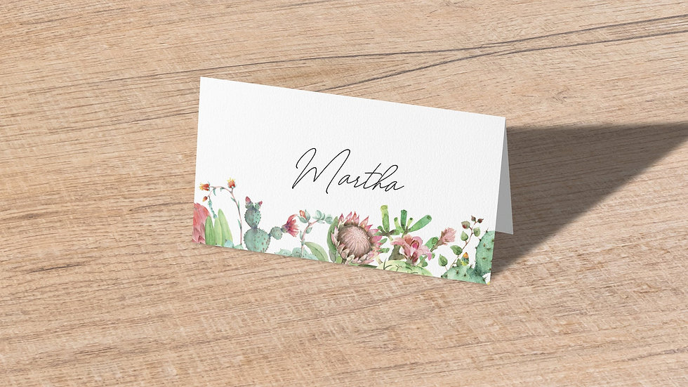 Succulents Place Cards With Names Printed