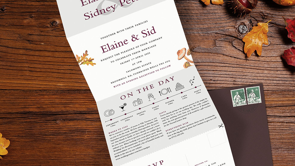 Woodland Tri Fold Wedding Invitations With Envelopes