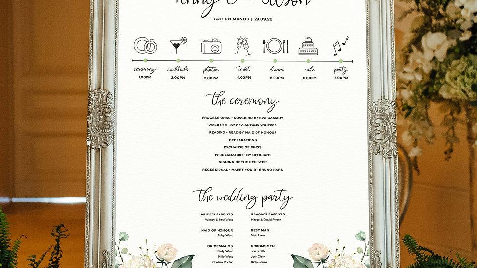 White Roses Wedding Program Sign