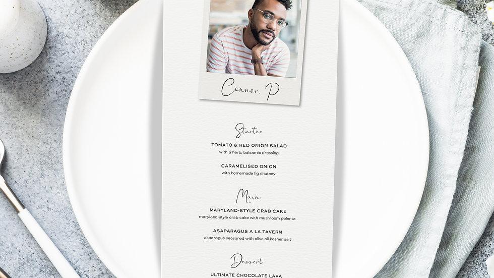 Photo Booth Wedding Menus