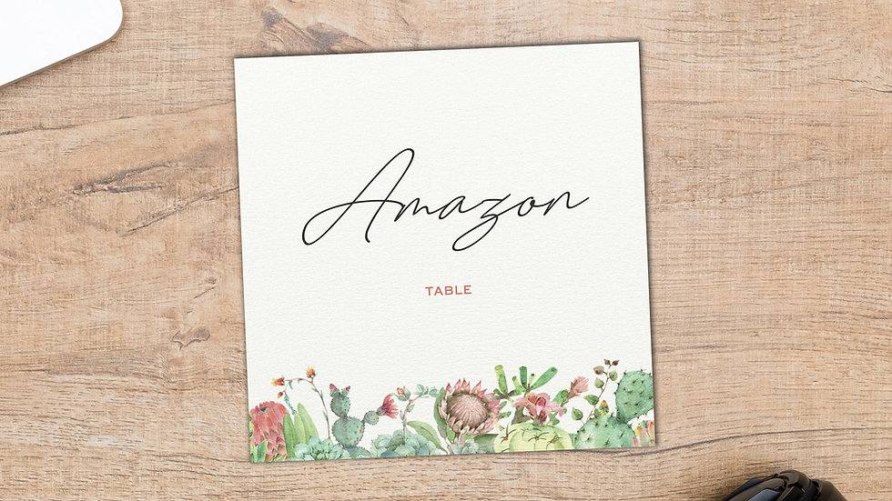 Succulents Table Name Cards
