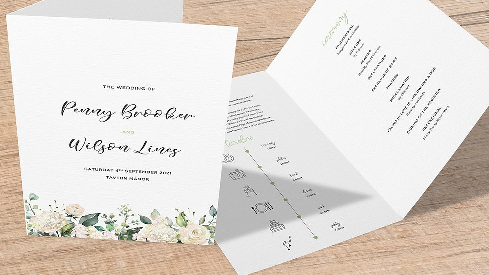 White Roses Folded Wedding Programs