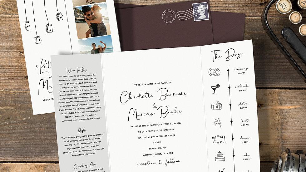 Photo Booth Gatefold Wedding Invitations With Envelopes