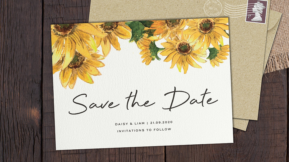 Sunflowers Save The Date Cards With Envelopes