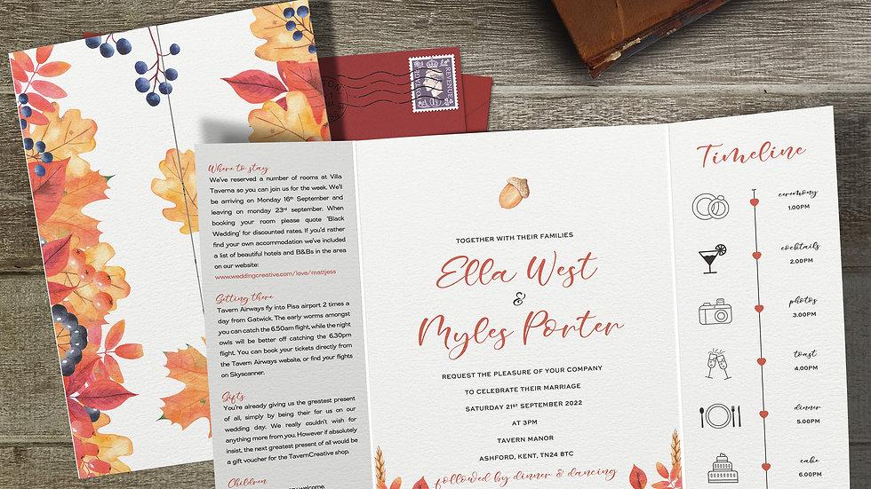 Autumn Gatefold Wedding Invitations With Envelopes