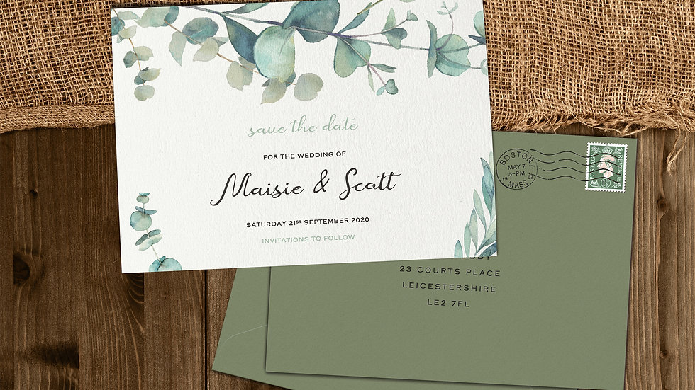 Olive Save The Date Cards With Envelopes