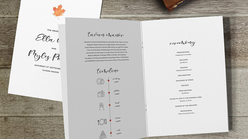 Autumn Wedding Order Of Service Booklet