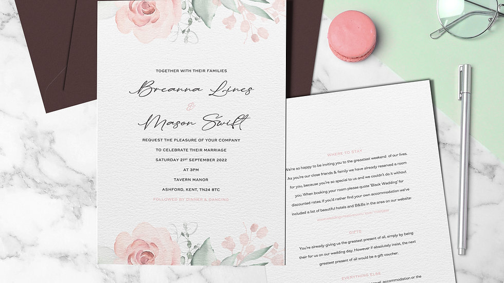 "Whimsical 7x5""Wedding Invitations With Envelopes"