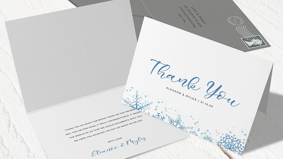 Winter Folded Thank You Cards With Envelopes