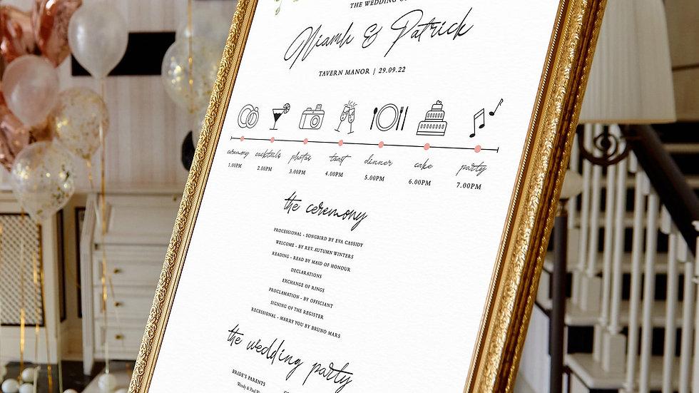 Blush Floral Wedding Program Sign