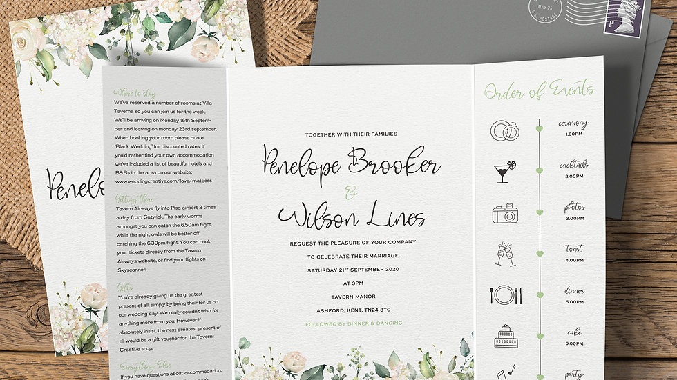 White Roses Gatefold Wedding Invitations With Envelopes