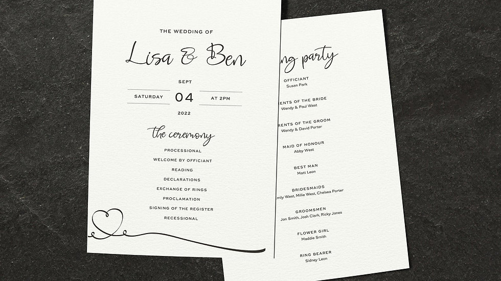 Calligraphy Order Of Events Cards