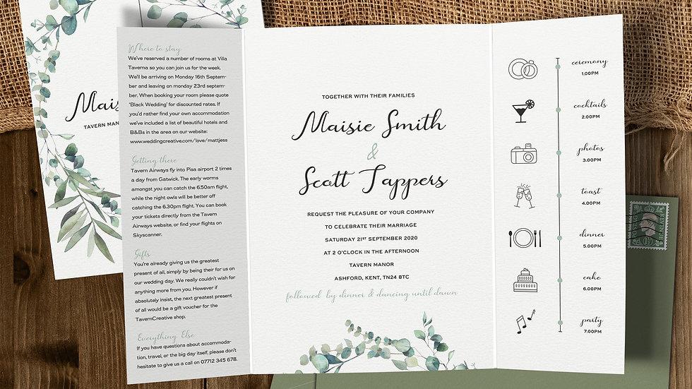 Olive Gatefold Wedding Invitations With Envelopes