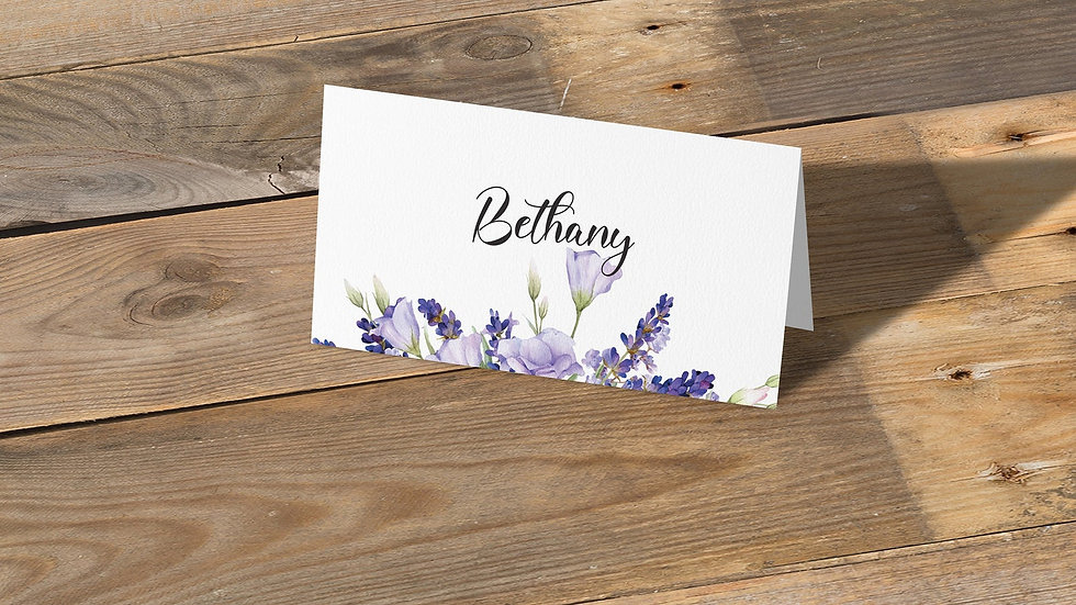 Lavender Place Cards With Names Printed