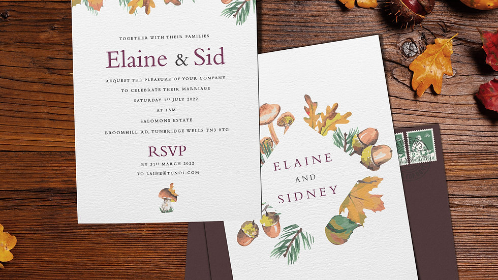 "Woodland 7x5""Wedding Invitations With Envelopes"